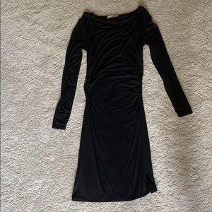Loft Ruched Black Knit Dress